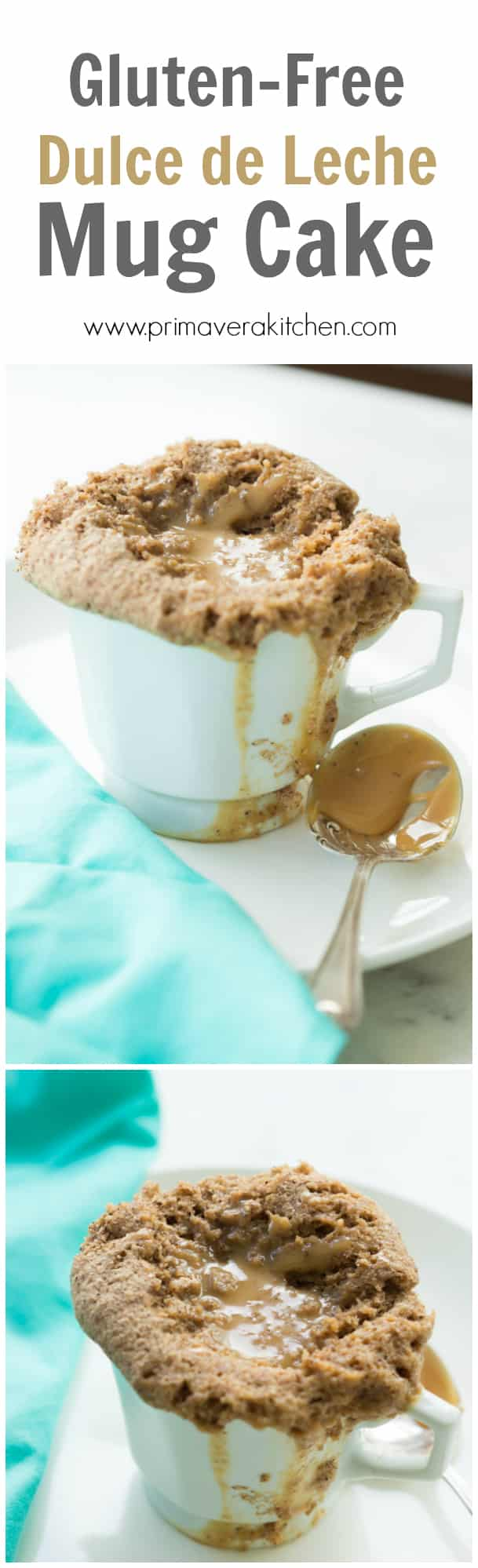 Gluten-free Dulce de Leche Mug Cake - This gluten-free Dulce de Leche Mug Cake is very moist, flavourful and takes only 3 minutes in the microwave to be ready. Don't have dulce de leche? Just use peanut butter instead and make it a vegan cake too.