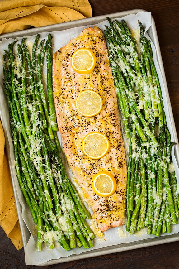 roasted lemon pepper salmon and parmesan asparagus Primavera Kitchen