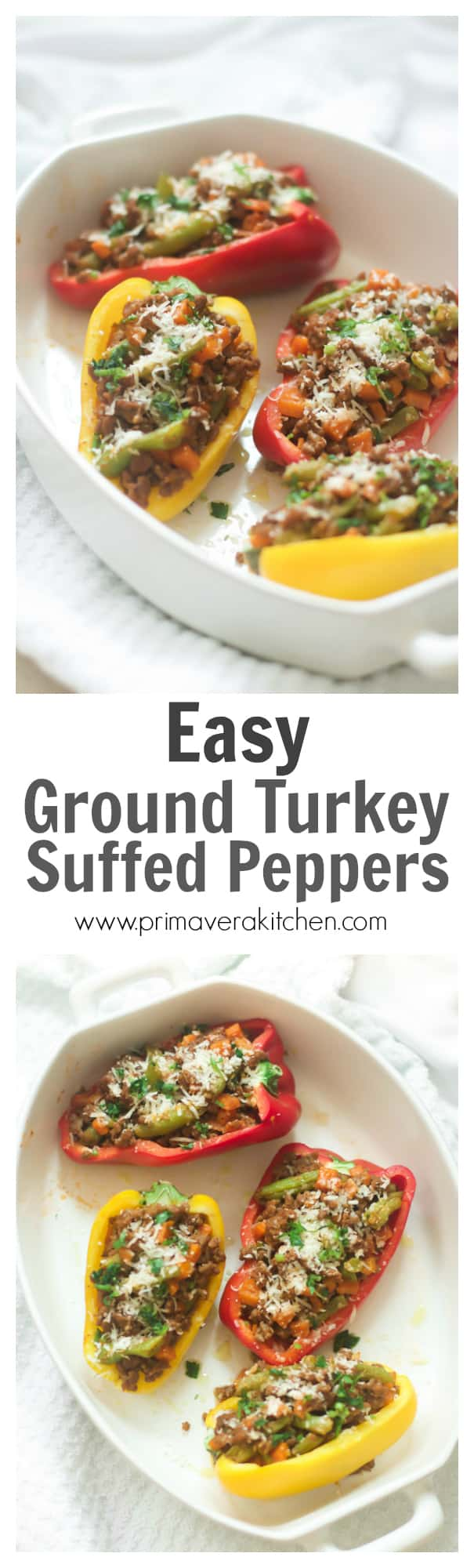 Easy Ground Turkey Stuffed Peppers - This Easy Ground Turkey Stuffed Peppers recipe is low-carb, gluten-free and super easy and quick to make! Enjoy!