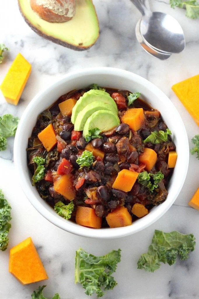 spicy-sriracha-black-bean-and-butternut-squash-chili - Healthy Chili Recipes