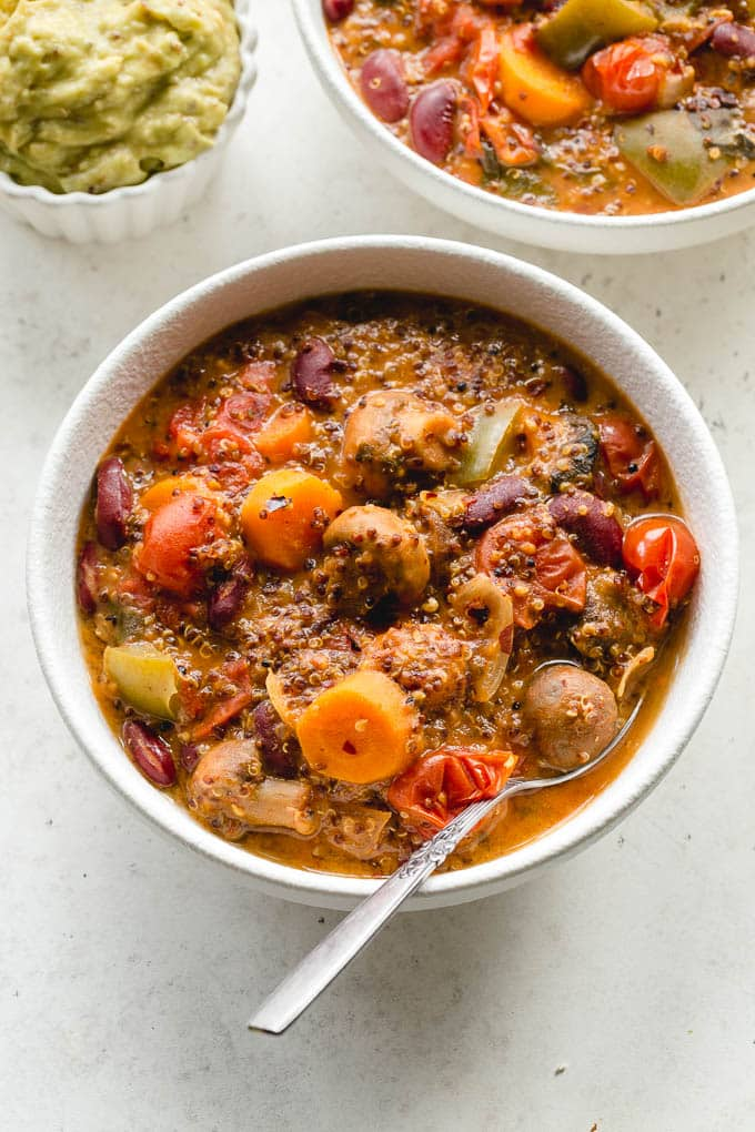 Slow Cooker Vegetarian Chili with Quinoa and Avocado