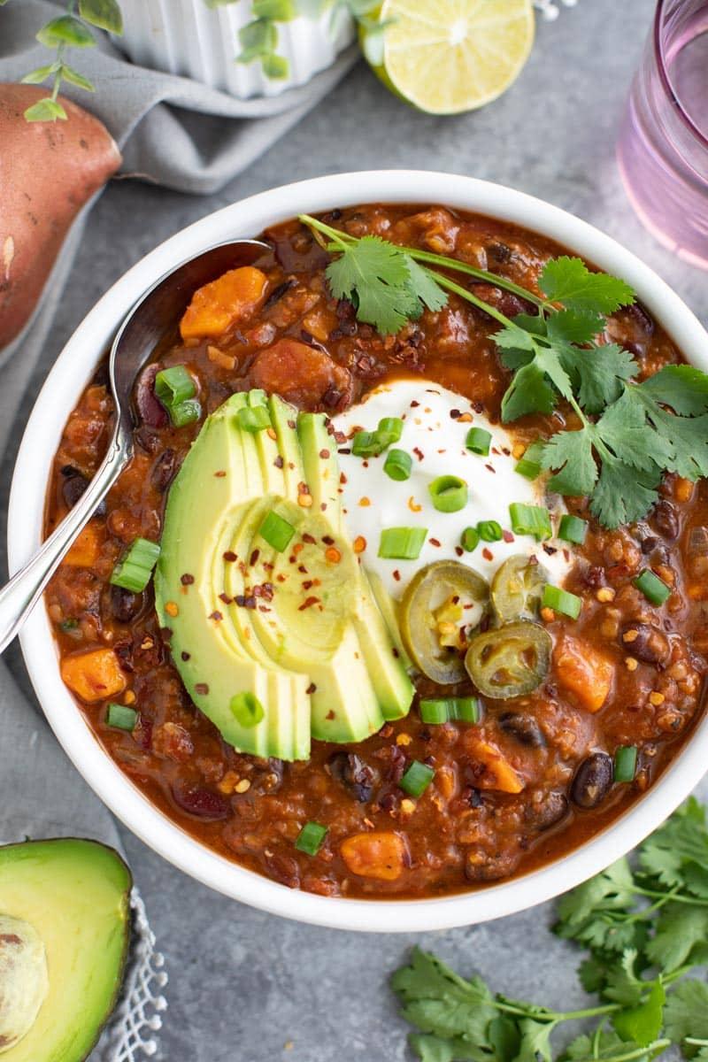 one pot sweet potato lentil bean chili