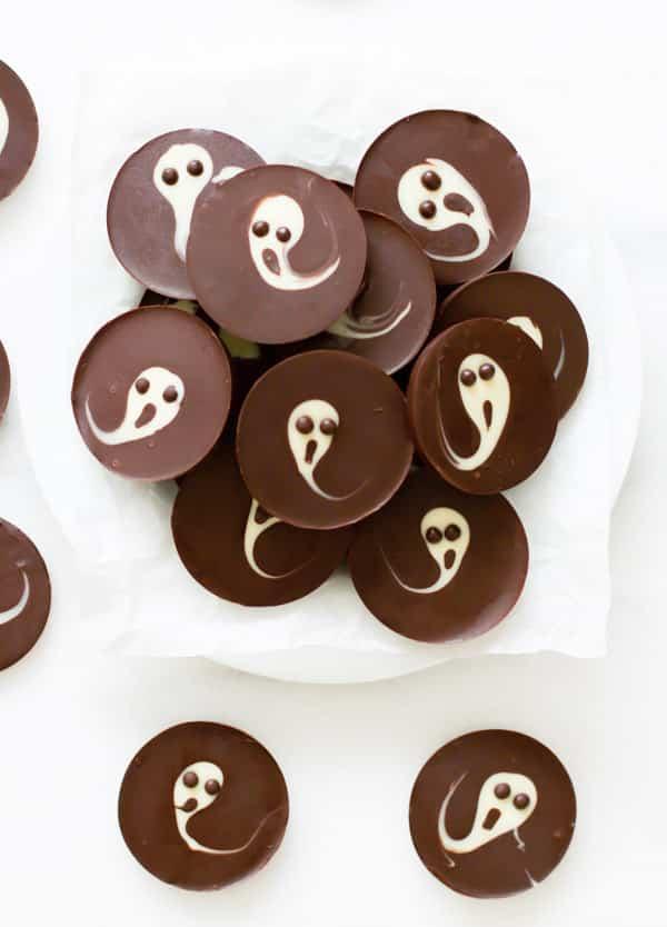 2-Ingredient Ghost Chocolate Cups Primavera Kitchen Halloween Recipe