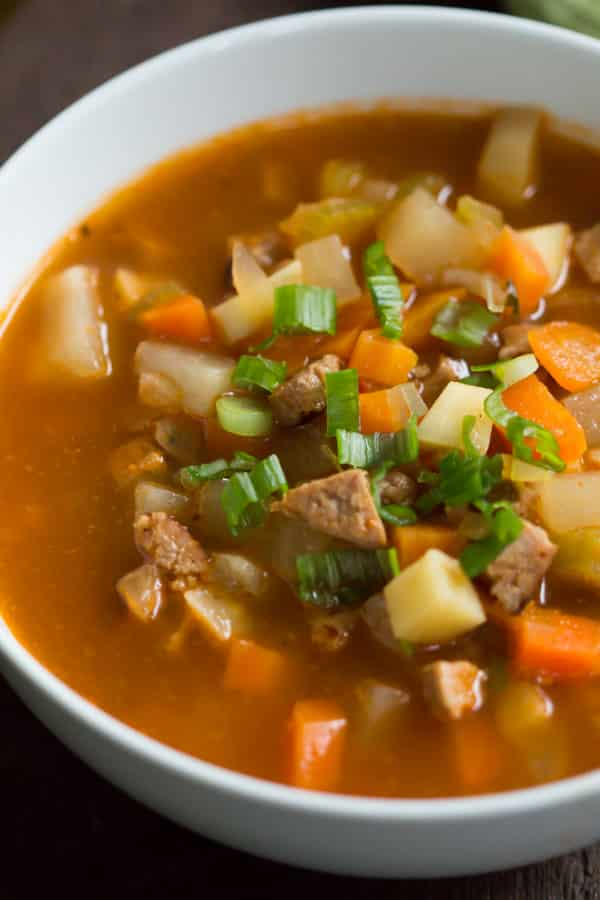root-vegetable-soup- turkey-sausage-vegetable-soup - Enjoy this filling Turkey Sausage Vegetable Soup that is packed with the flavors of turkey sausage, tomatoes, parsnip and turnip. This is a very satisfying soup and it'll warm you up during the cold weather.