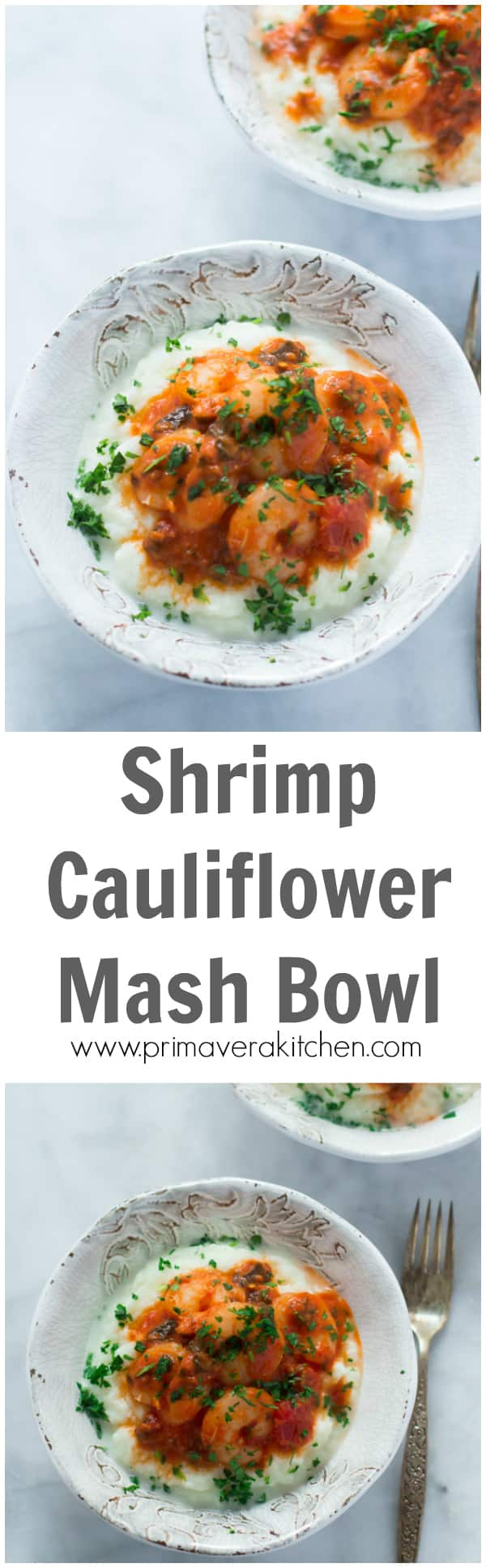 shrimp-cauliflower-mash-bowl- This Shrimp Cauliflower Mash Bowl is a great meal for those who are on the low-carb diet. Also it's ready in less than 30 minutes, easy and quick to make and very flavourful!