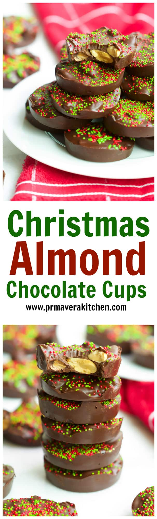 christmas-almond-chocolate-cups - These Christmas Almond Chocolate Cups are made with only 3-Ingredients and they require no baking. It's ultra-easy to make, delicious, gluten-free and vegan too!