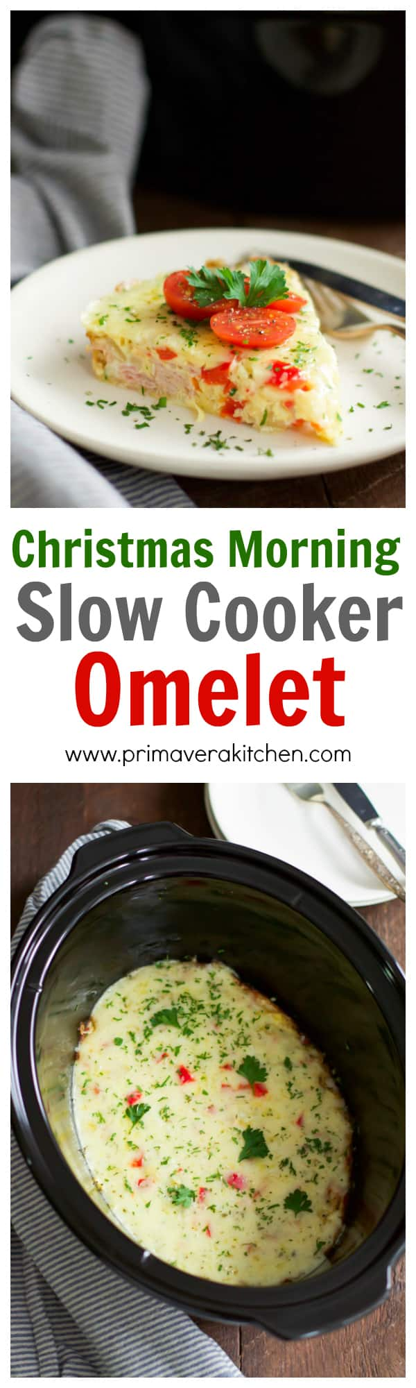 chistmas-morning-slow-cooker-omelet_- This Christmas Morning Slow Cooker Omelet is perfect for you who don't want to spend your fun Christmas morning in the kitchen. You can make this omelet ahead with eggs, almond milk, bell pepper, onions, ham and cheese