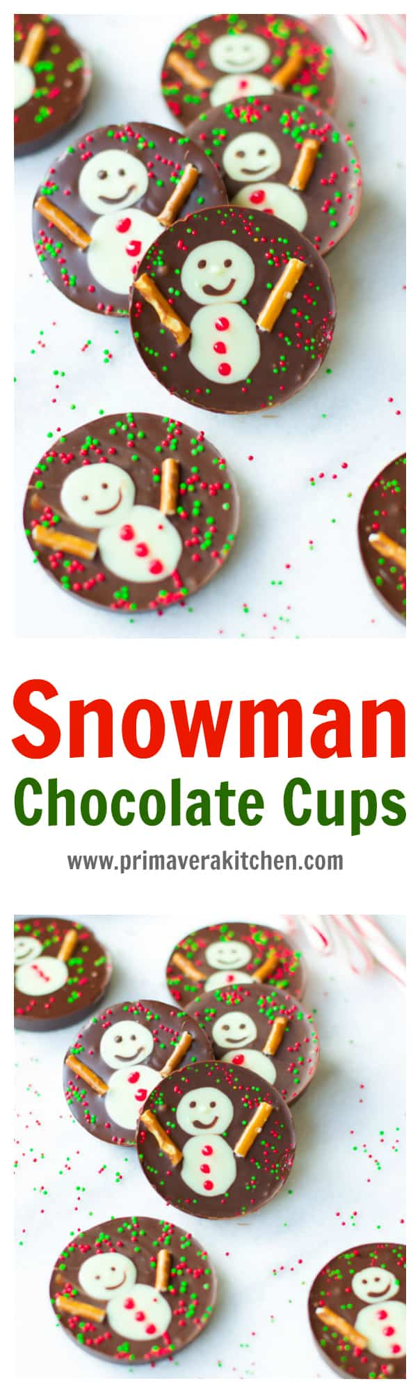 snowman-chocolate-cups- These fun, festive and delicious Snowman Chocolate Cups are the perfect Christmas treats or wintertime snacks! These no-bake chocolate cups are also made with just a hand full of ingredients!