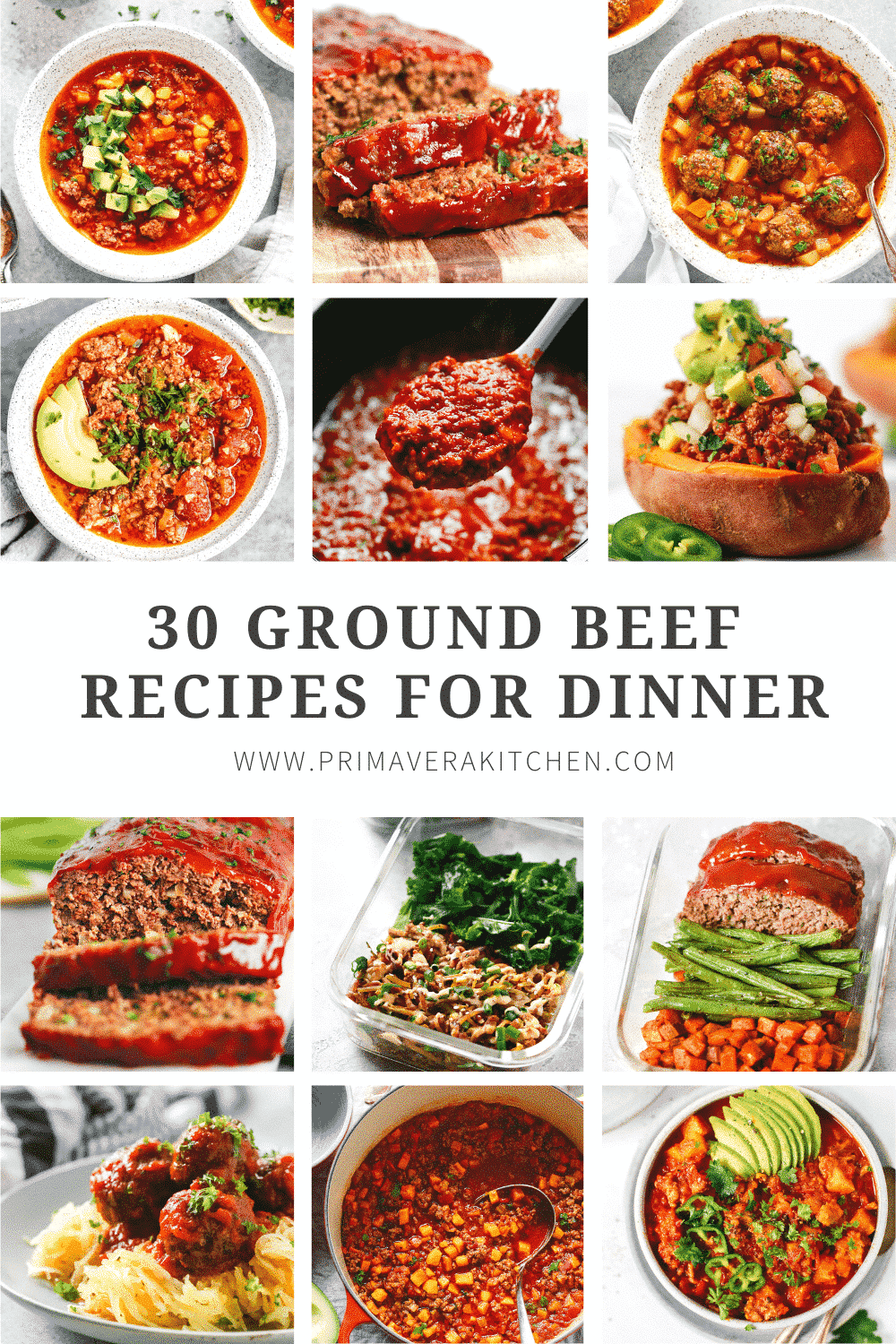 titled photo collage (and shown):30 ground beef recipes for dinner