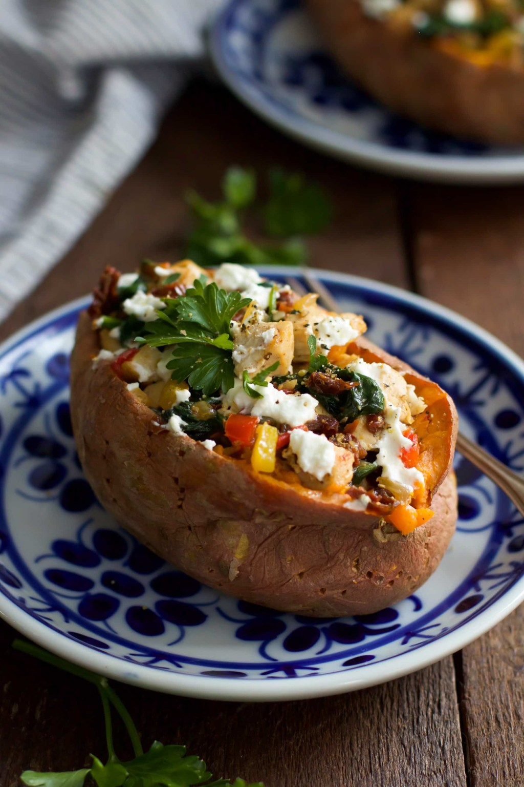 Goat Cheese Chicken Stuffed Sweet Potato Primavera Kitchen Recipe