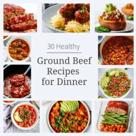 titled photo collage (and shown): ground beef recipes for dinner