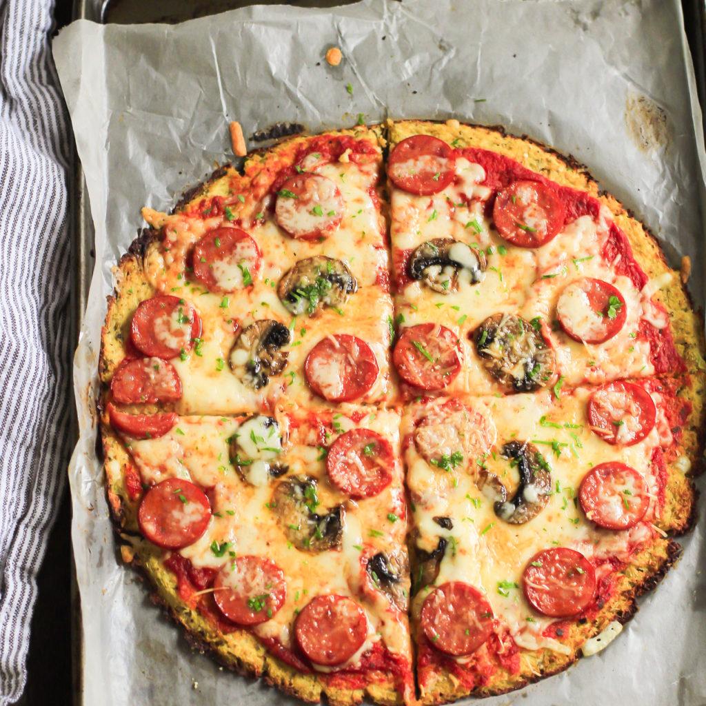 Low-Carb Pepperoni Cauliflower Pizza Crust Primavera Kitchen Recipe