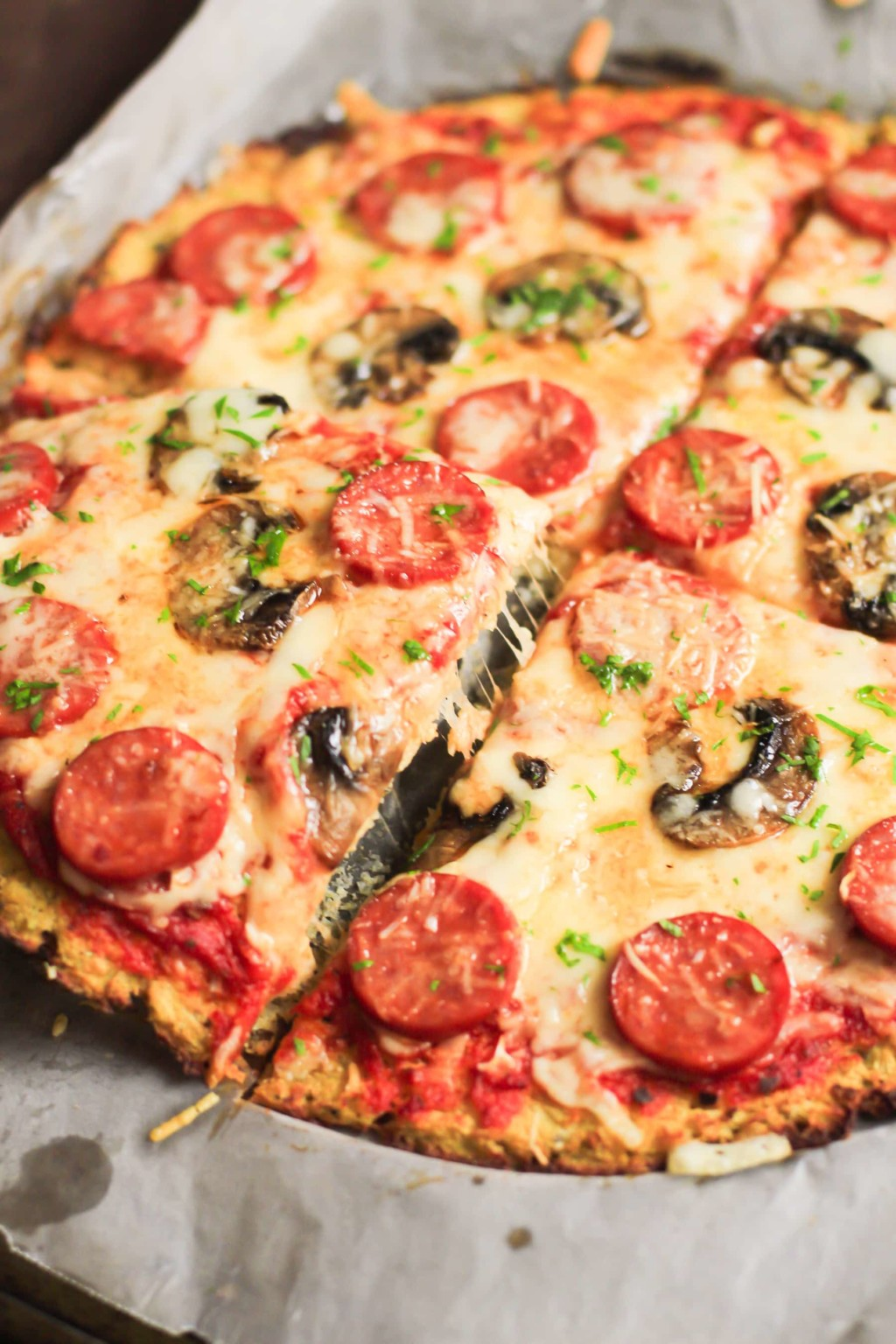 Low-Carb Pepperoni Cauliflower Pizza Crust Primavera Kitchen Recipe