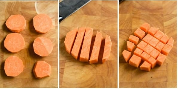 diced sweet potatoes on the wooden board