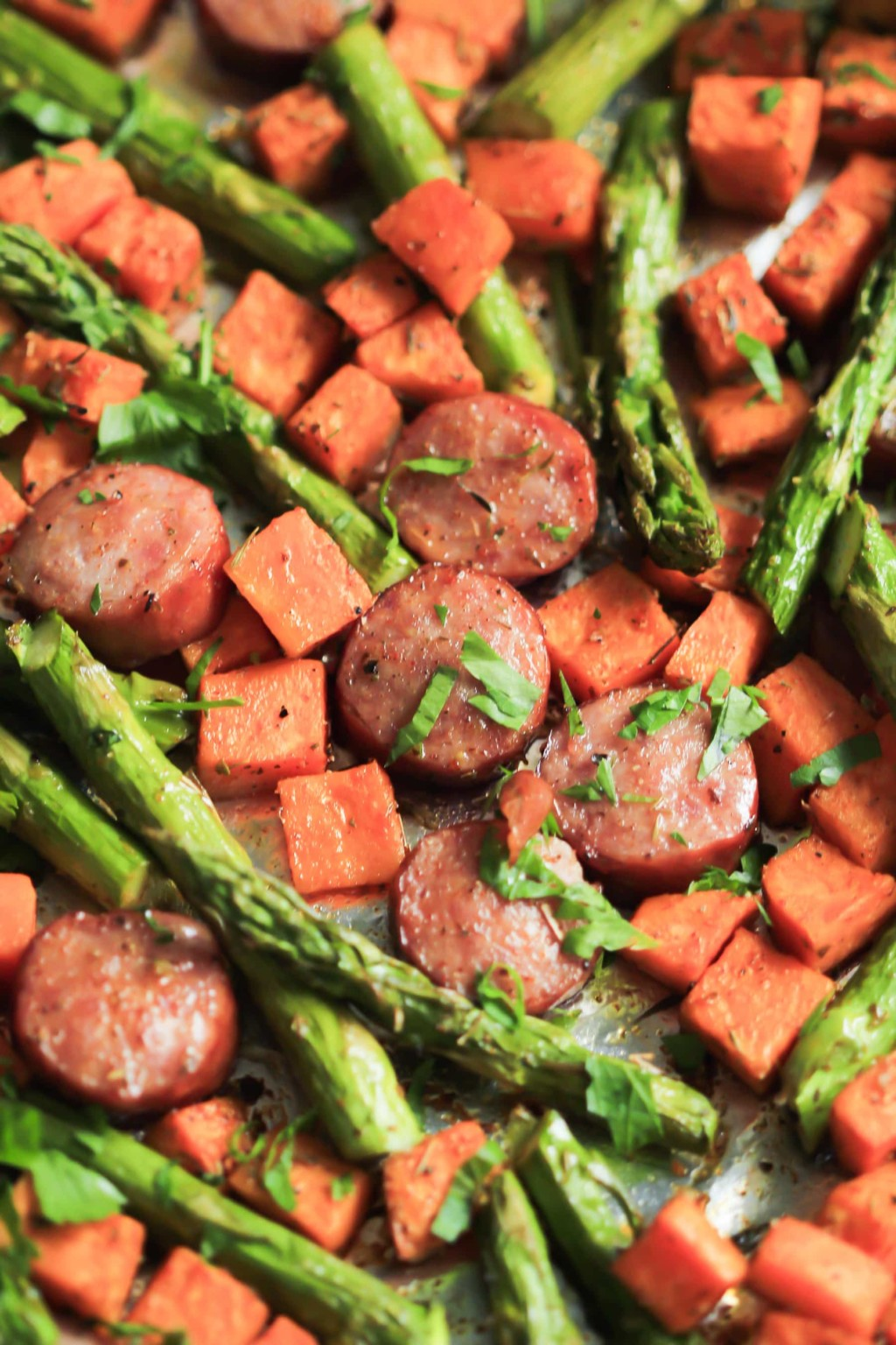 One-Pan Sausage with Sweet Potato and Asparagus Primavera Kitchen Recipe