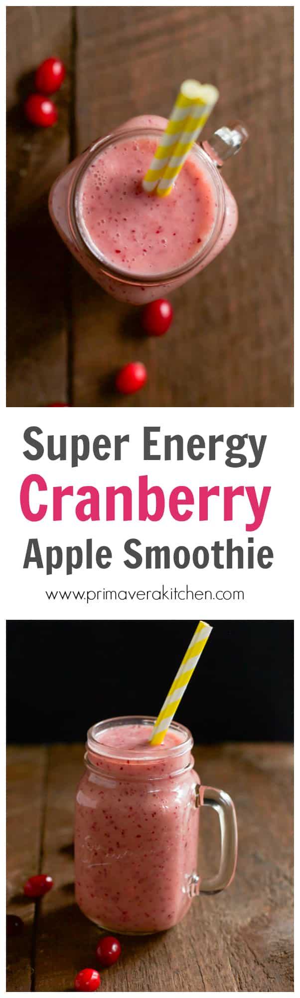 Boost your energy in the morning with this Super Energy Cranberry Apple Smoothie that combines the tartness of the cranberry with the sweetness of the apple, the flavor of the coconut milk and a pinch of cinnamon. This is a perfect way to start your day during wintertime!