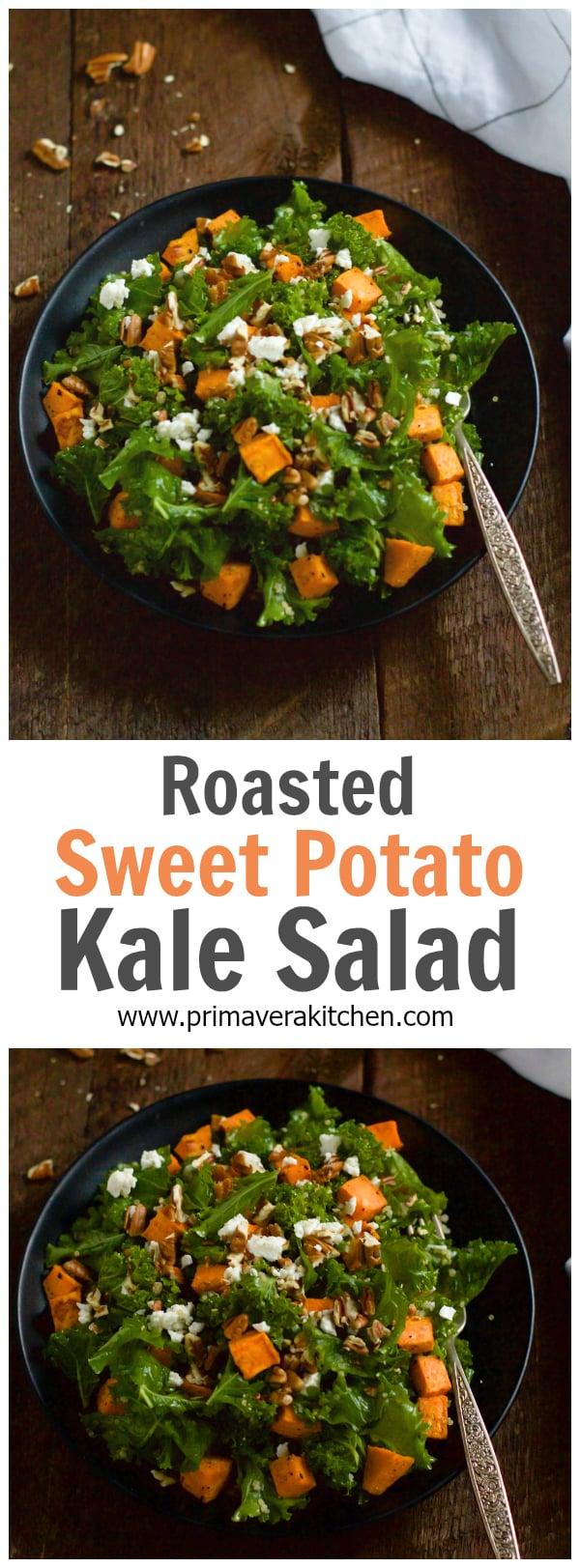 Roasted Sweet Potato Kale Salad - This hearty Roasted Sweet Potato Kale Salad is made with massaged kale, roasted sweet potatoes, pecans and crumbled Feta cheese.