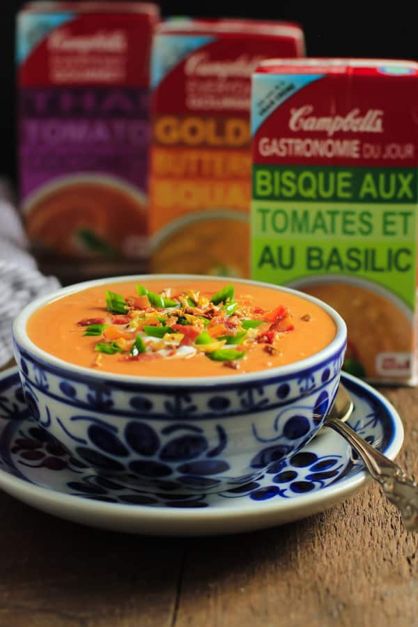 This Campbell's® Everyday Gourmet Tomato Basil Bisque soup with bacon, sautéed garlic and green onions will help #elevateyoureveryday! These soups are really tasty and the best part, they don't have artificial colours or flavours! Enjoy! #ad