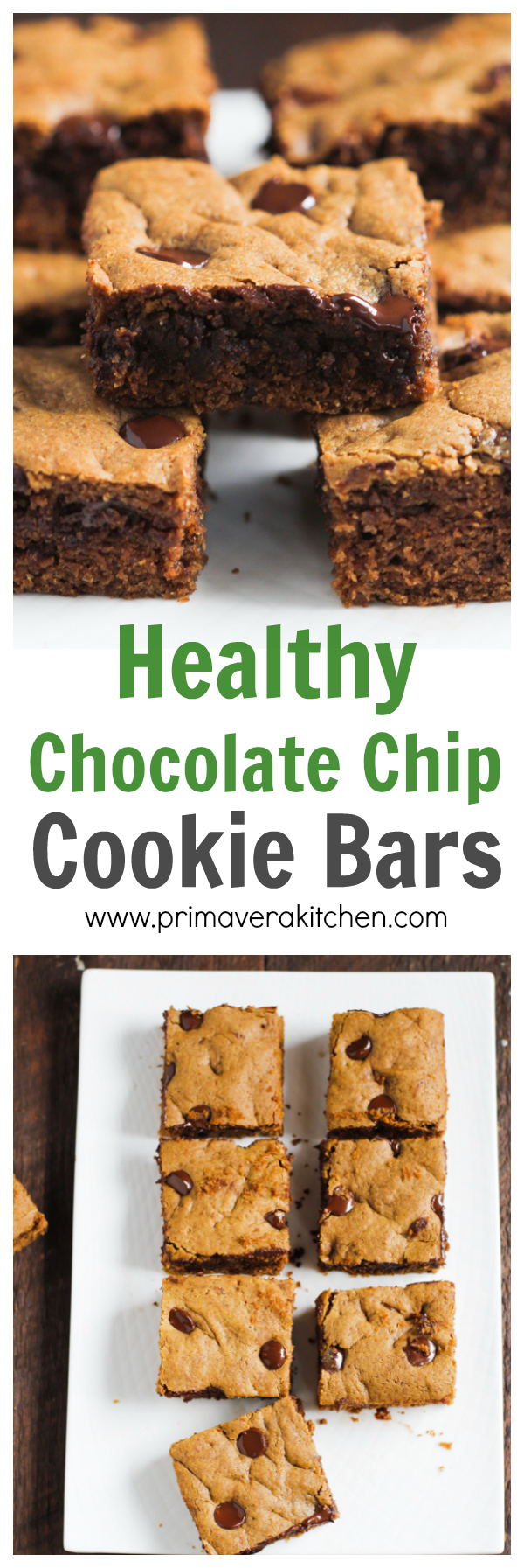 Healthier Chocolate Chip Cookie Bars - These healthy Chocolate Chip Cookie Bars are made with whole wheat flour, coconut sugar and semi-sweet chocolate chips. It tastes as good as the traditional recipes! | www.primaverakitchen.com