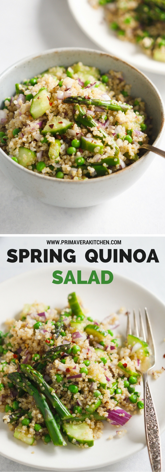 Spring Quinoa Salad - This Spring Quinoa Salad is loaded with asparagus, peas, cucumber, red onions and with an easy and delicious homemade vinaigrette. | www.primaverakitchen.com
