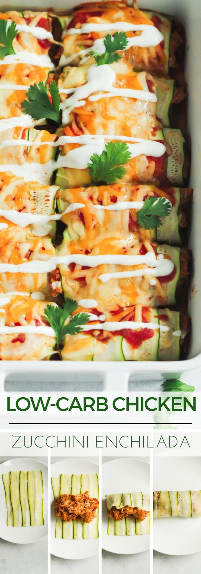 "Low-carb Chicken Zucchini Enchilada - This Low-carb Chicken Zucchini Enchilada is made with ""zucchini tortillas"" and it's loaded with enchilada sauce, chicken and cheese. It's also gluten-free and very flavorful!"