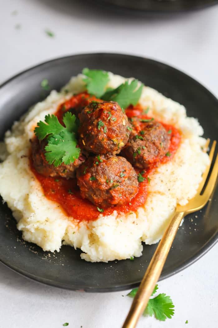 Low-Carb Turkey Meatballs with Mashed Cauliflower Primavera Kitchen Recipe