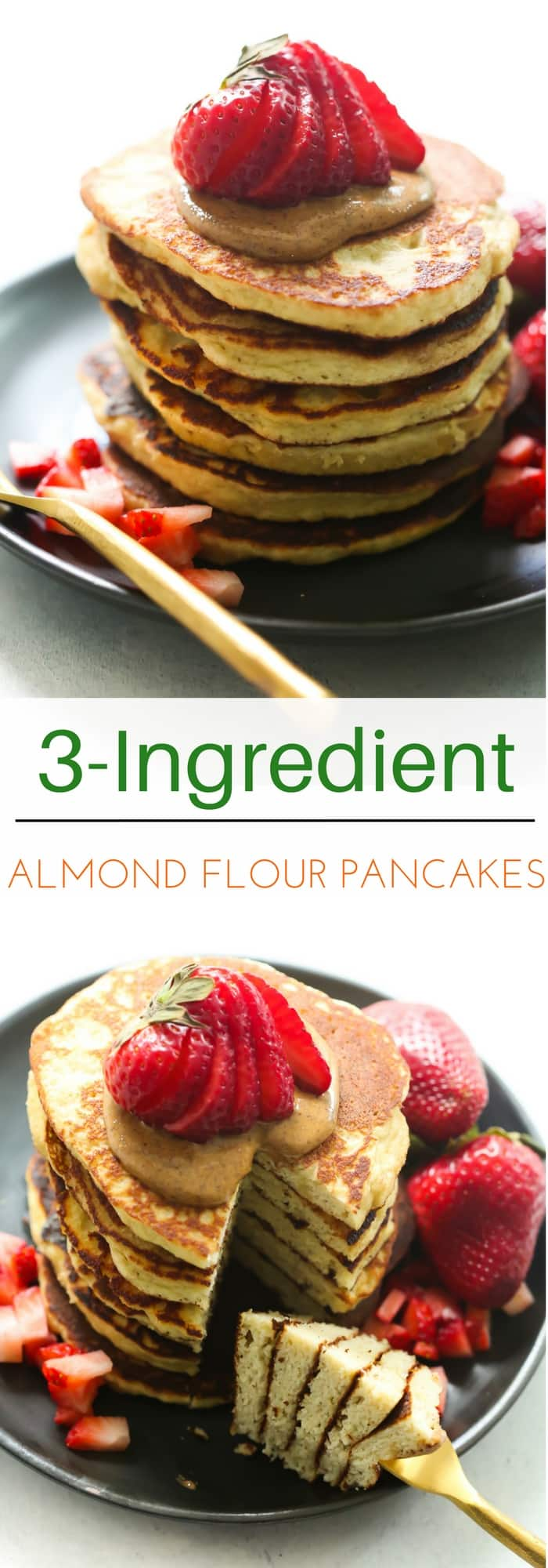 3-Ingredient Almond Flour Pancake recipe - This 3-ingredient Almond Flour Pancake recipe is made in a blender, packed with protein and it's gluten/sugar-free!