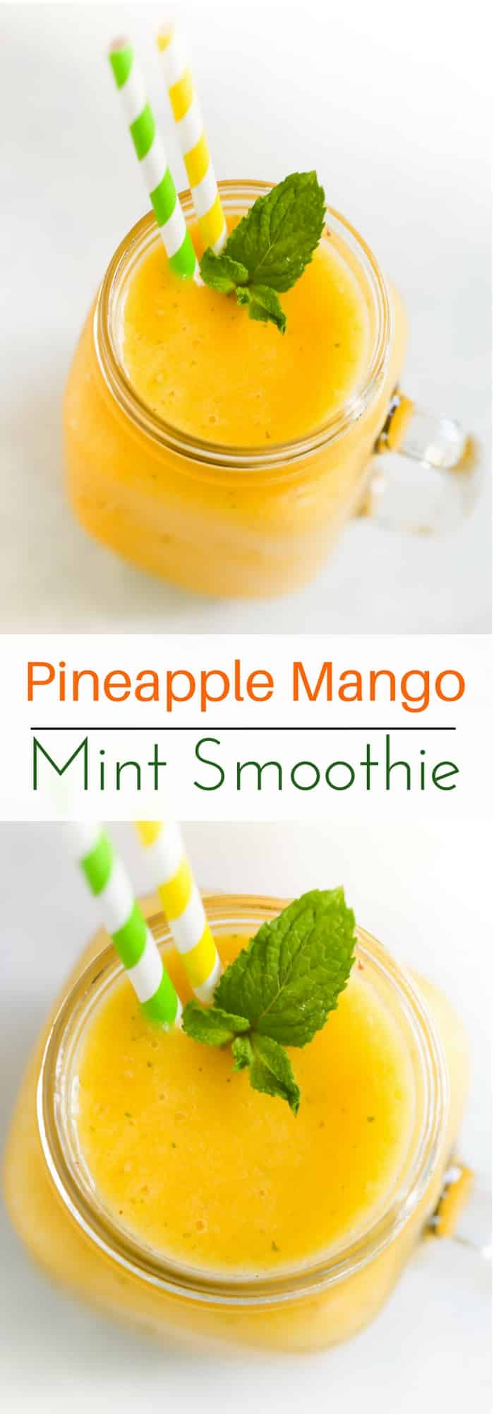 Pineapple Mango Mint Smoothie - Fresh Pineapple Mango Mint Smoothie to enjoy during summer. It only requires 4-ingredients and a blender. Enjoy!