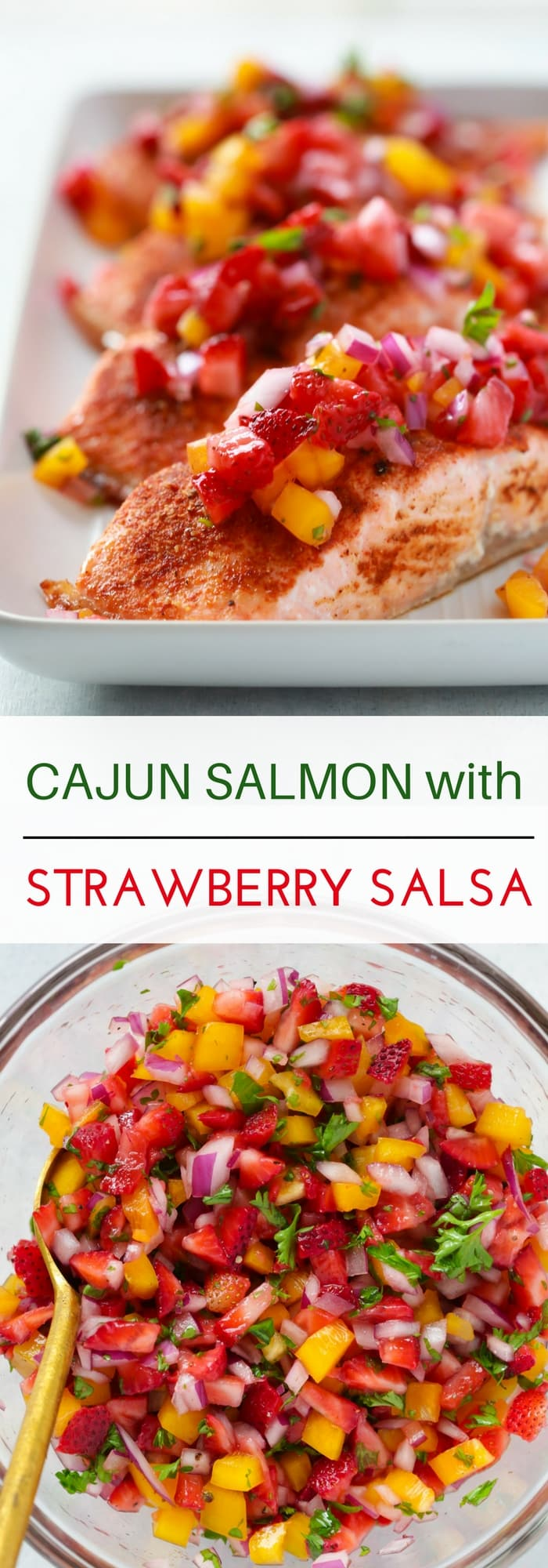 This Cajun Salmon with Strawberry Salsa is a perfect summer lunch or light dinner to enjoy during the week. It's easy to make, gluten-free, low-carb and paleo-friendly.