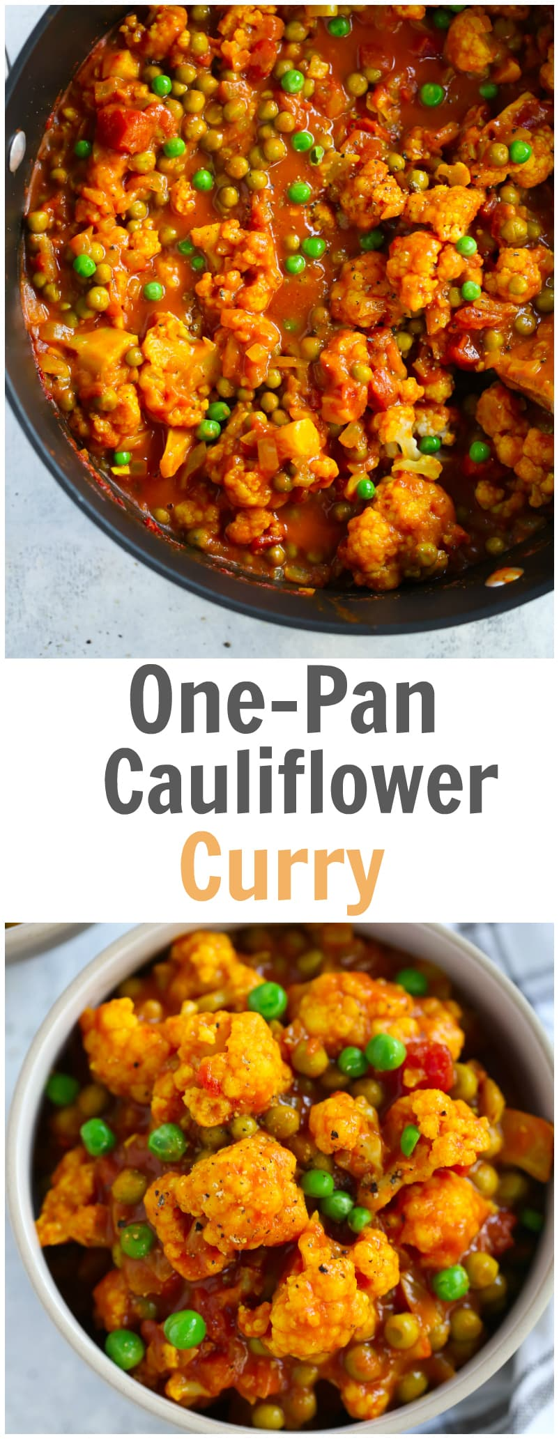 Easy One-Pan Cauliflower Curry Recipe is ready in 20 minutes. It's made with cauliflower, green peas, diced tomatoes, curry and coconut milk. Also this recipe is gluten-free, vegan and if you don't add green peas it's low-carb too.