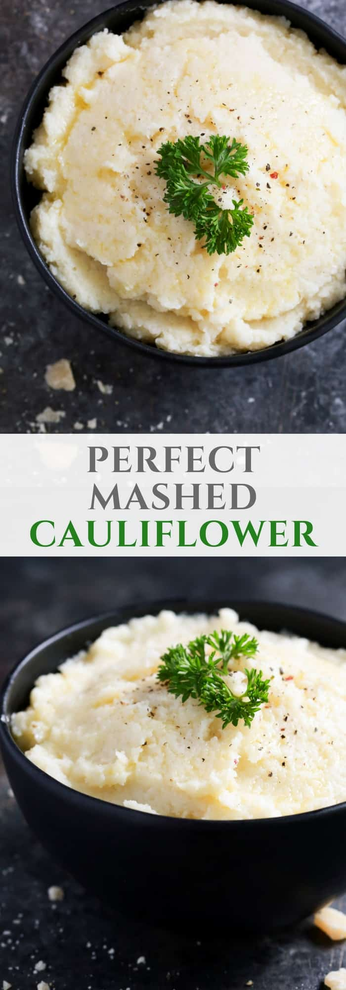 Tired of making watery mashed cauliflower? Try to make my perfect mashed cauliflower recipe using an immersion blender and season with garlic powder, Parmesan cheese, mayo and butter. Mm… Amazing! It has a perfect smooth texture that you and your family will love.