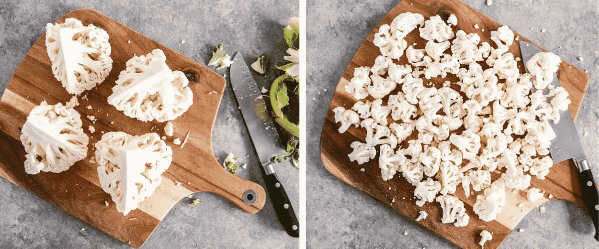 Step-by-step instructions on cutting a cauliflower into florets