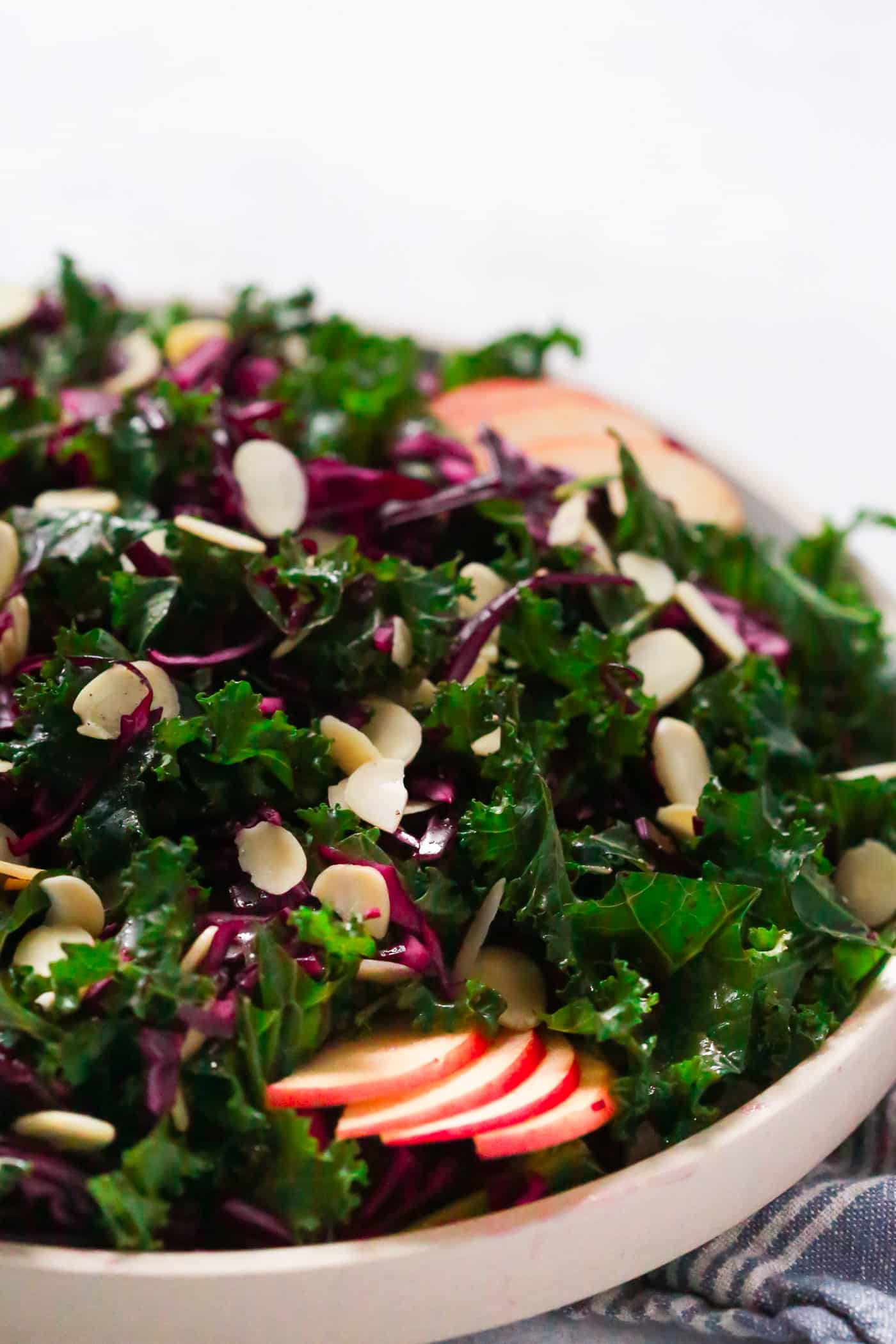 Easy, quick and delicious Chopped Red Cabbage Kale Salad to keep you healthy during the cold weather.