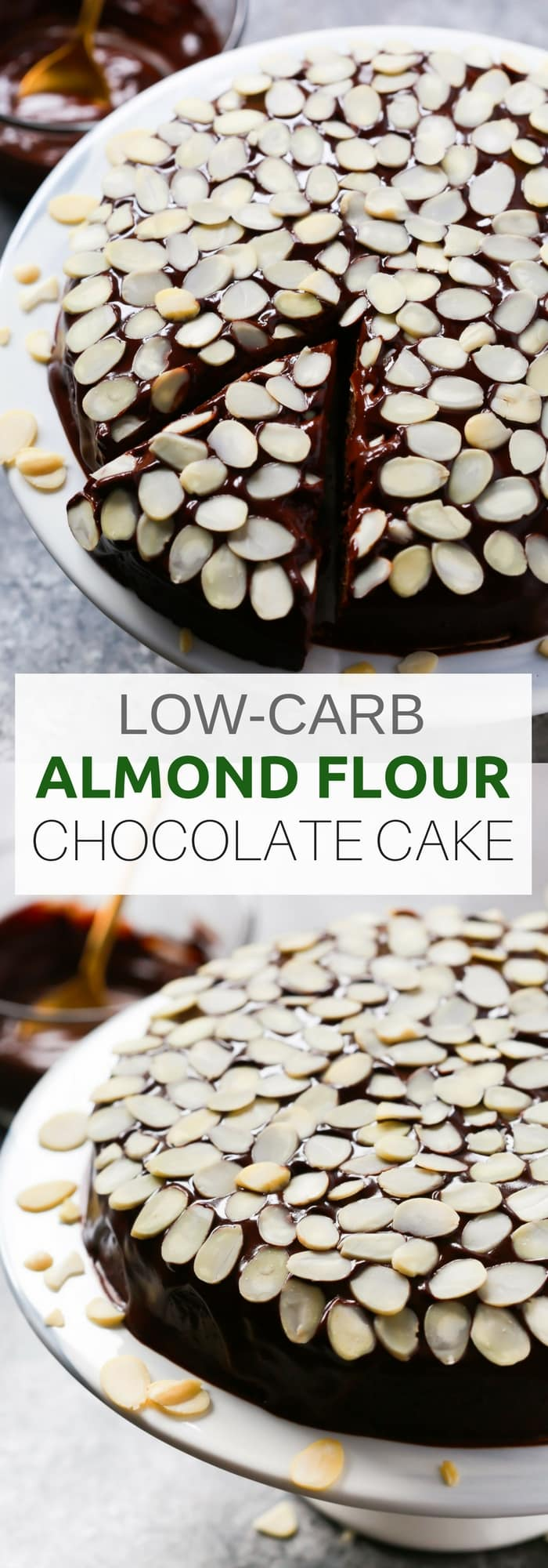 Healthier Low-carb Almond Flour Chocolate Cake for the Holidays! It's made with almond flour, eggs, natural sweetener, cocoa power and lots of toasted natural sliced almonds. This cake is gluten-free too. Enjoy!