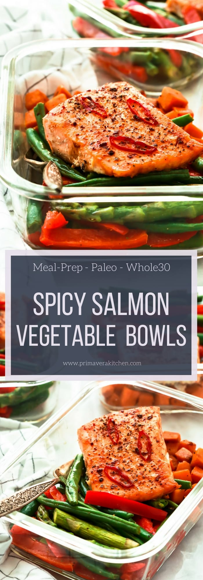 Spicy Salmon Vegetable Meal-Prep Bowls