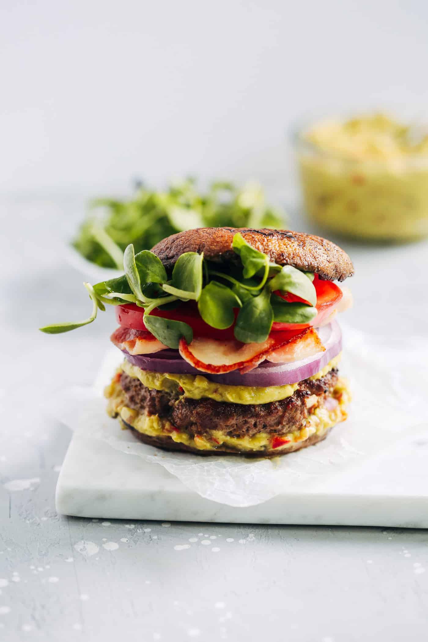 Portobello Mushroom Bun Burgers - Primavera Kitchen