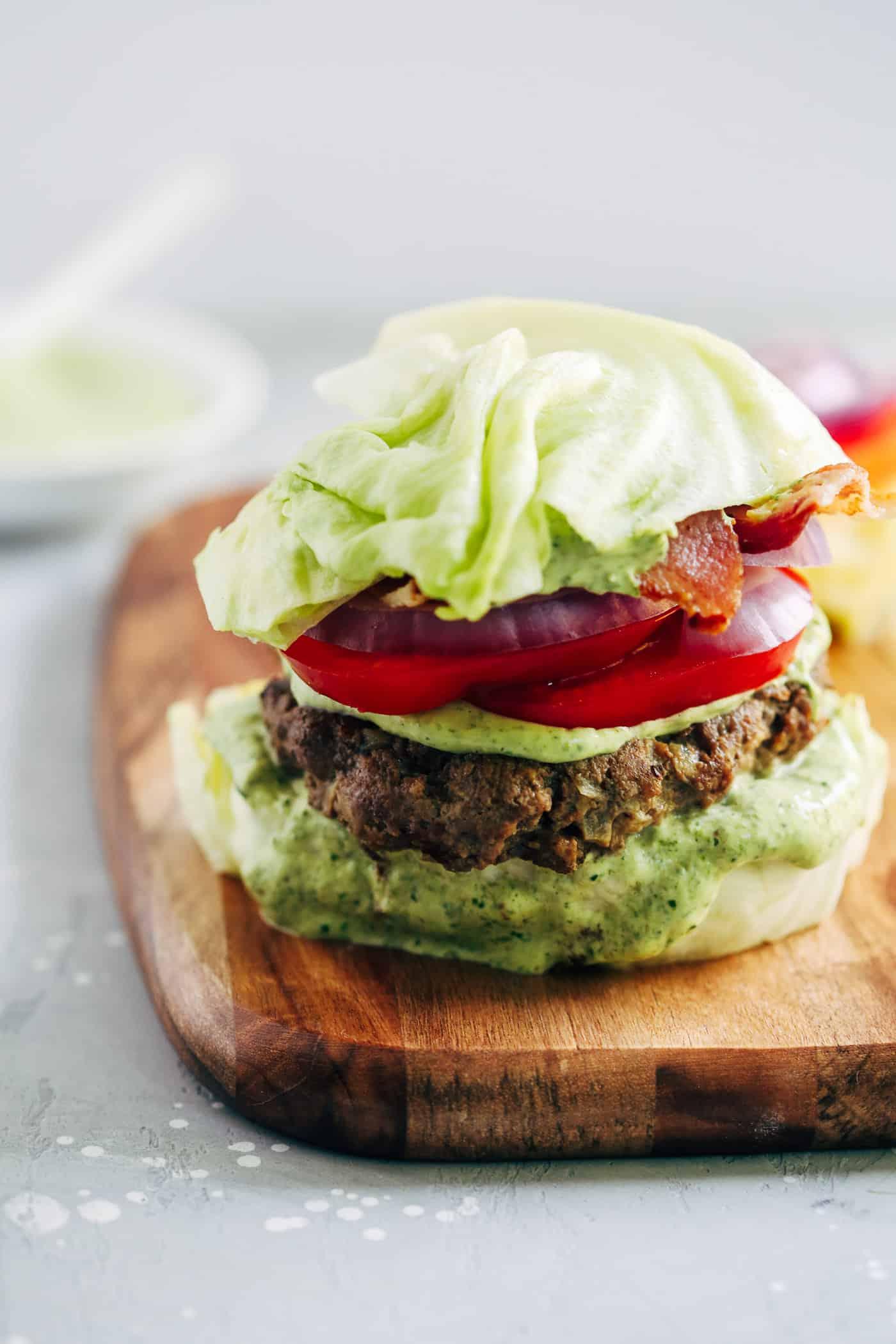 Spinach Sauce Bunless Burger - Primavera Kitchen