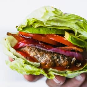 close up of Low-carb Bunless Burgers