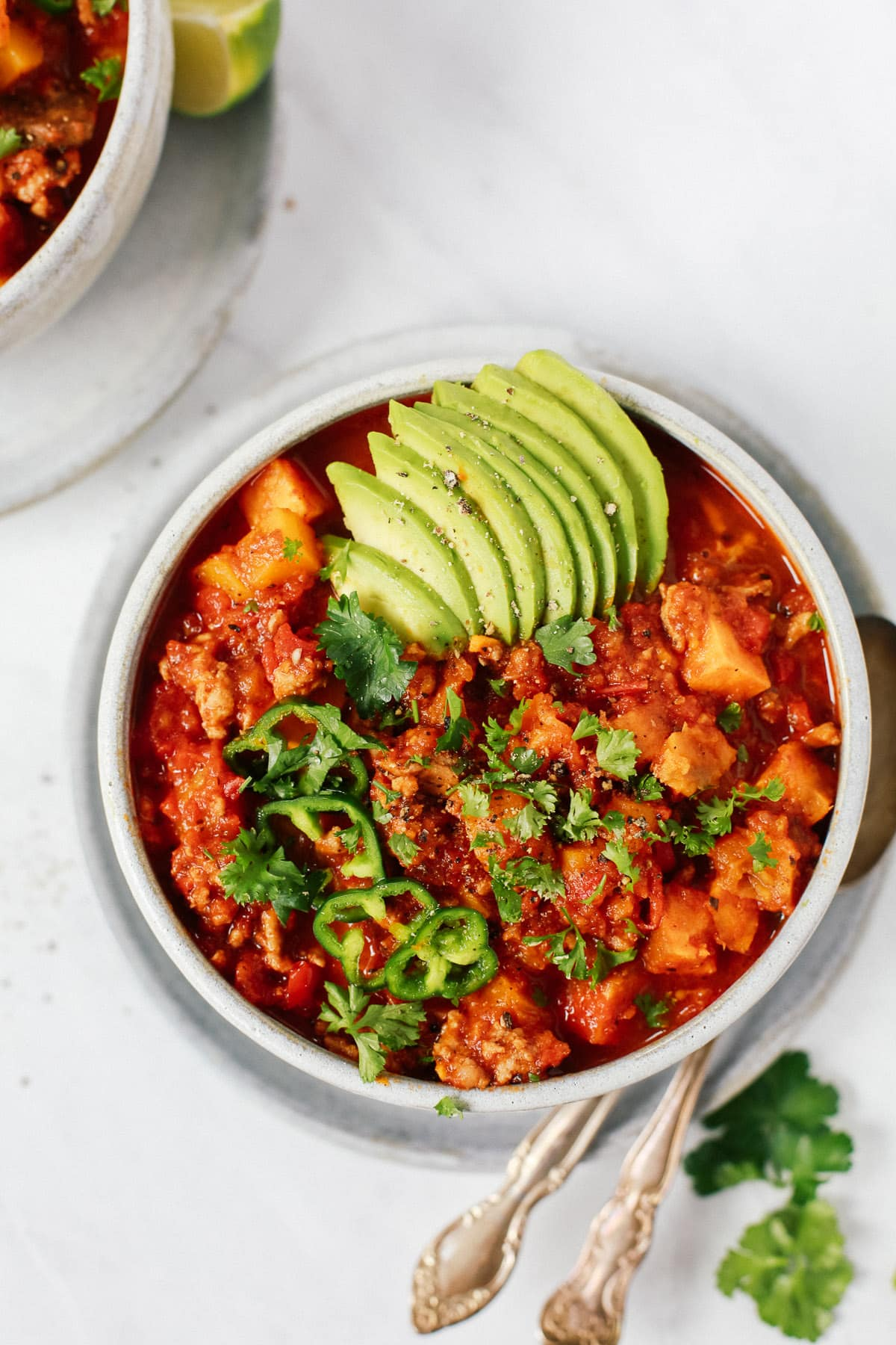 overhead view of a bowl of sweet potato chili