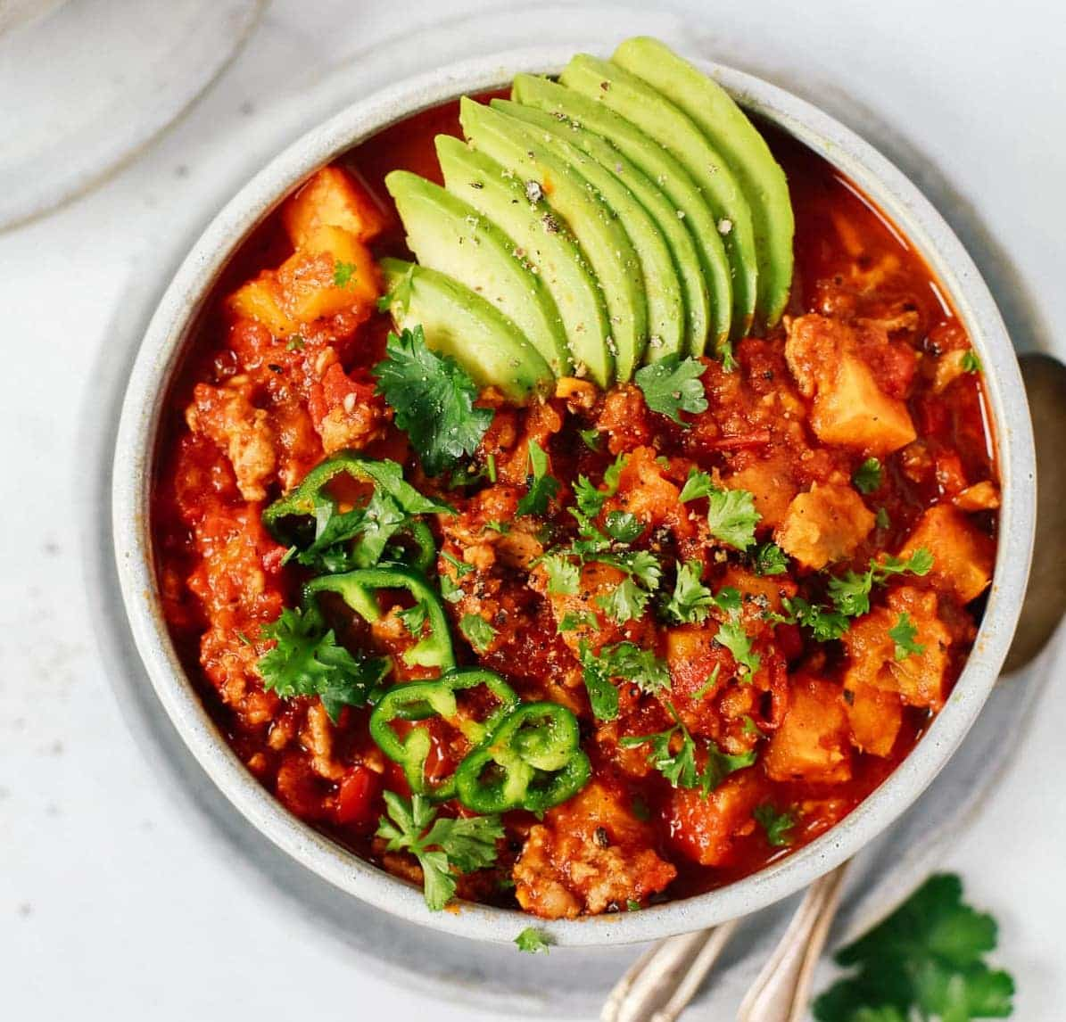 Easy Whole30 Sweet Potato Chili Primavera Kitchen