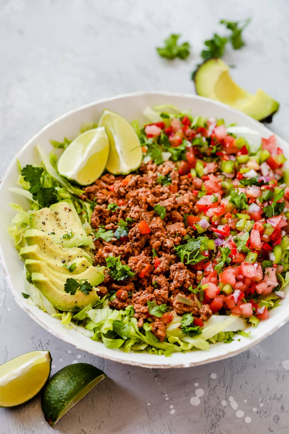 close-up of the Ground Beef Taco Salad with avocado slices