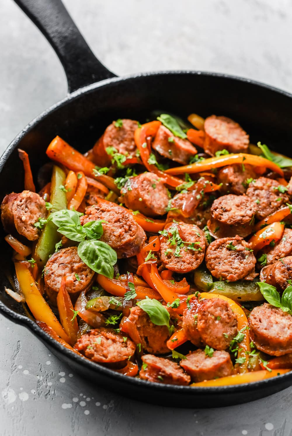 Italian Sausage, Onions and Peppers Skillet in a close-up shot