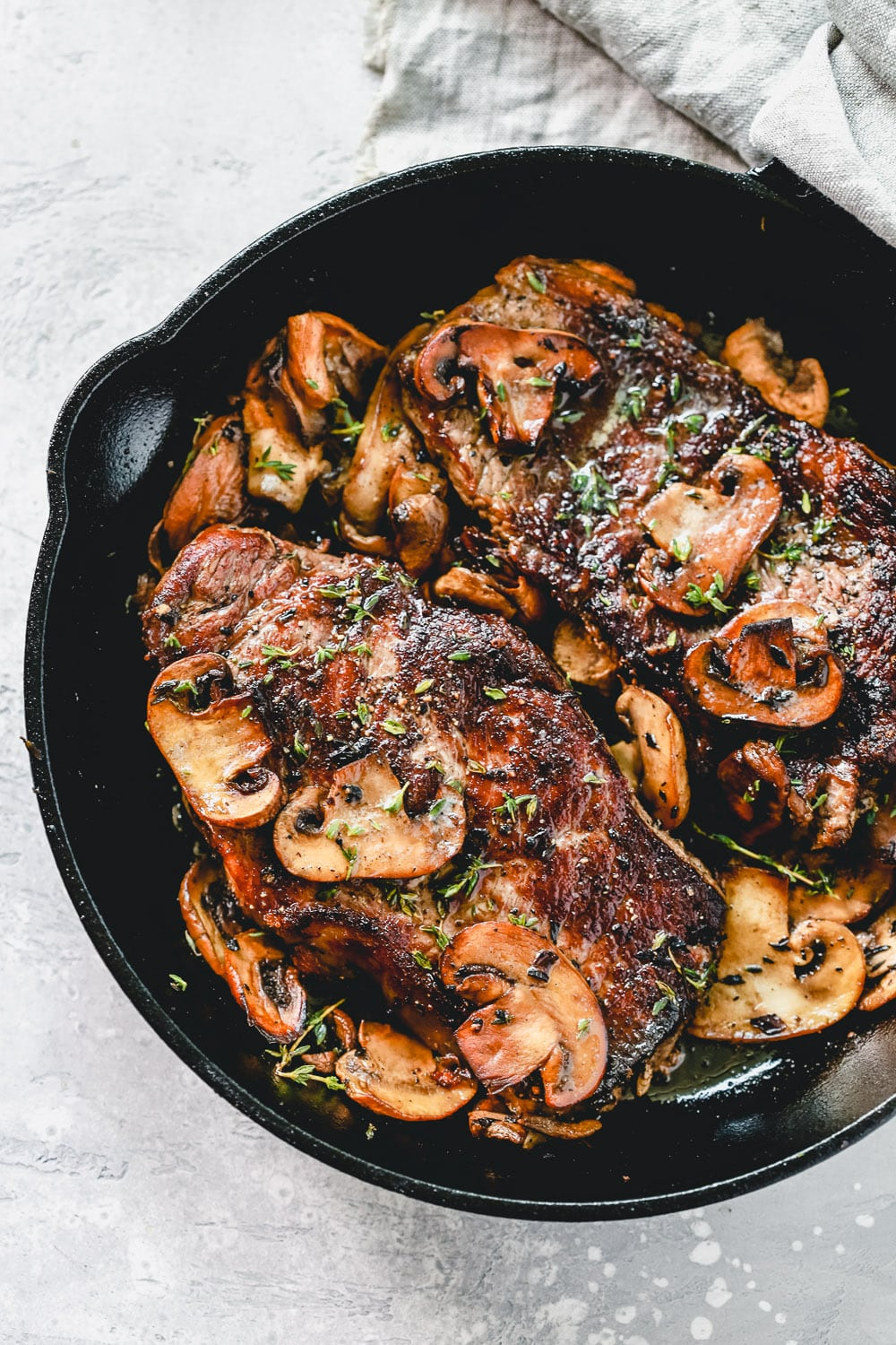 Juicy Pan Seared Steak with Mushrooms