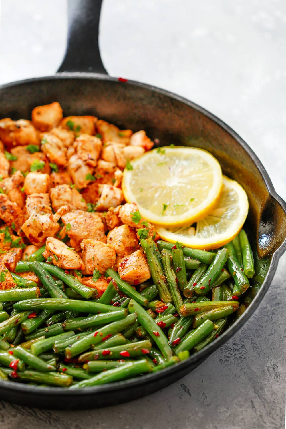 Spicy Green Beans Chicken Skillet chose-up shot