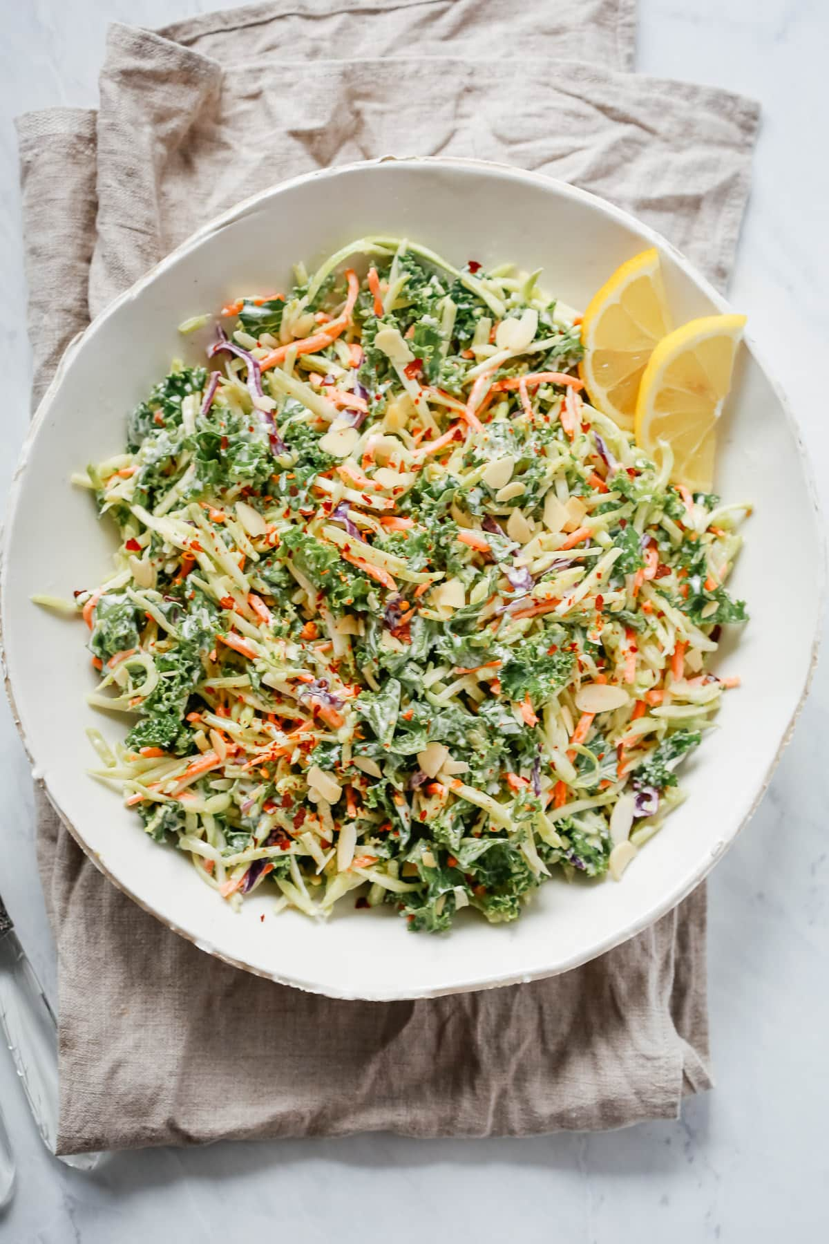 Super Easy Broccoli Kale Slaw Salad.