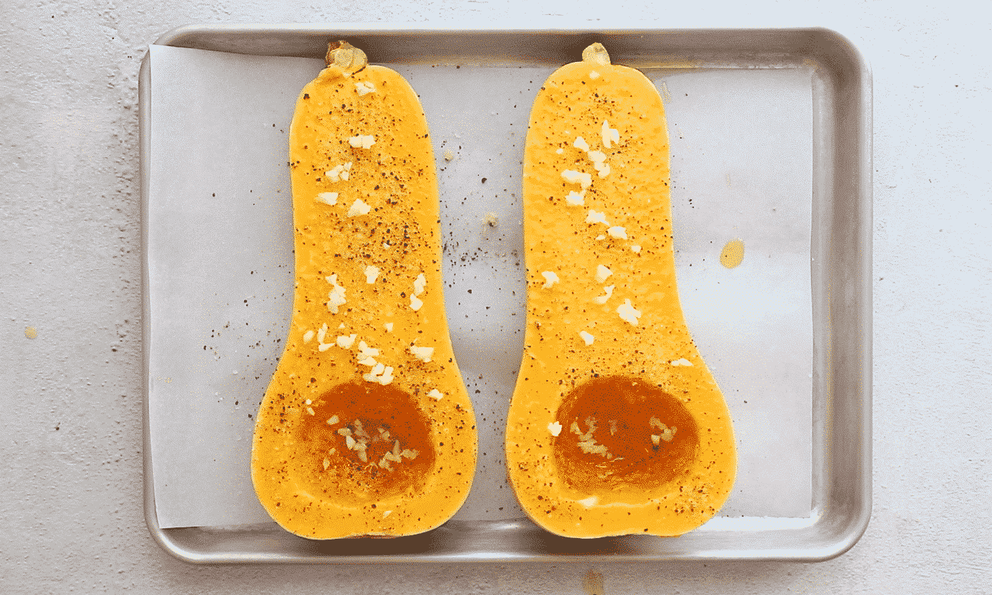 butternut squash seasoned with salt, pepper, and garlic.