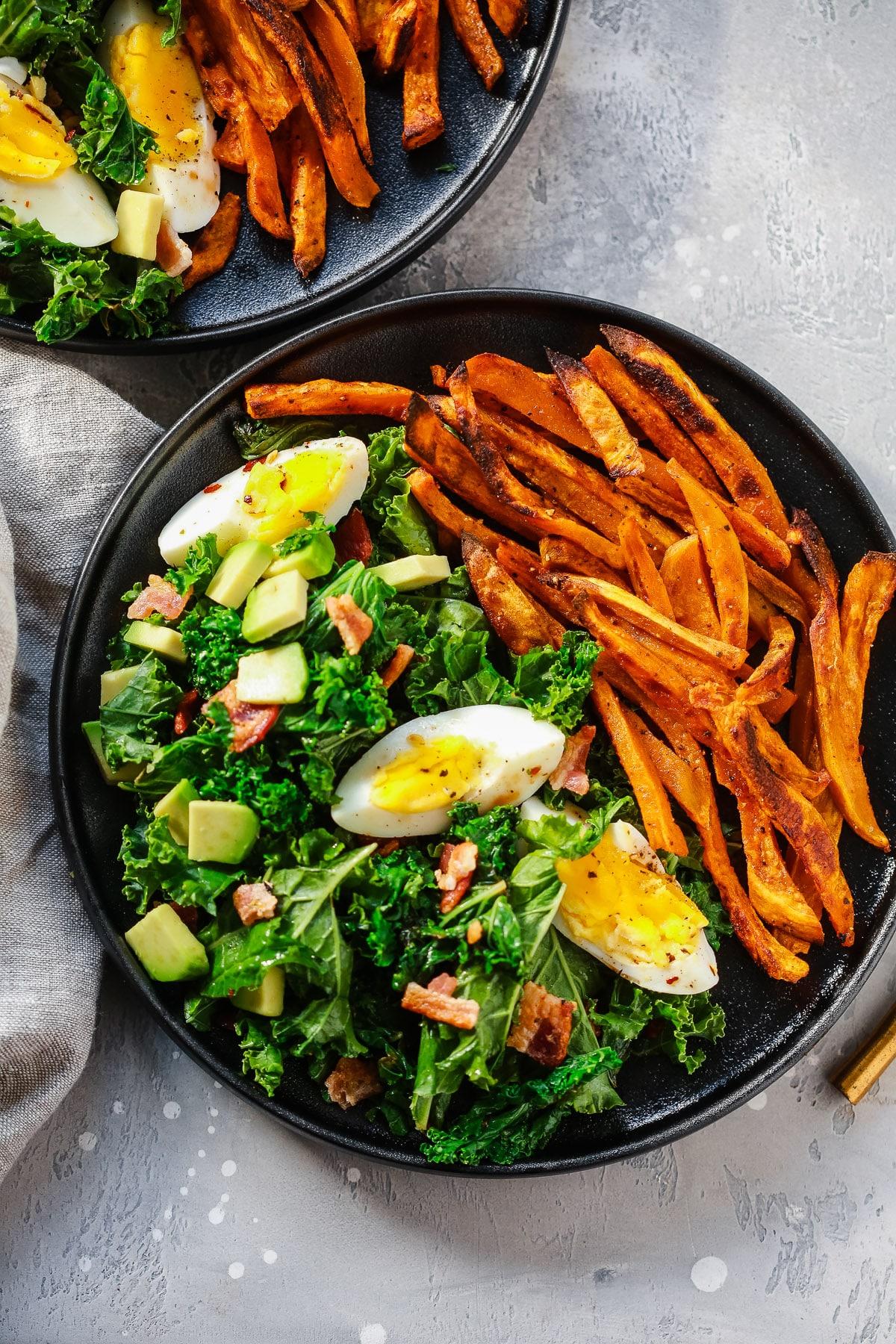 Kale Salad with Crispy Sweet Potato.