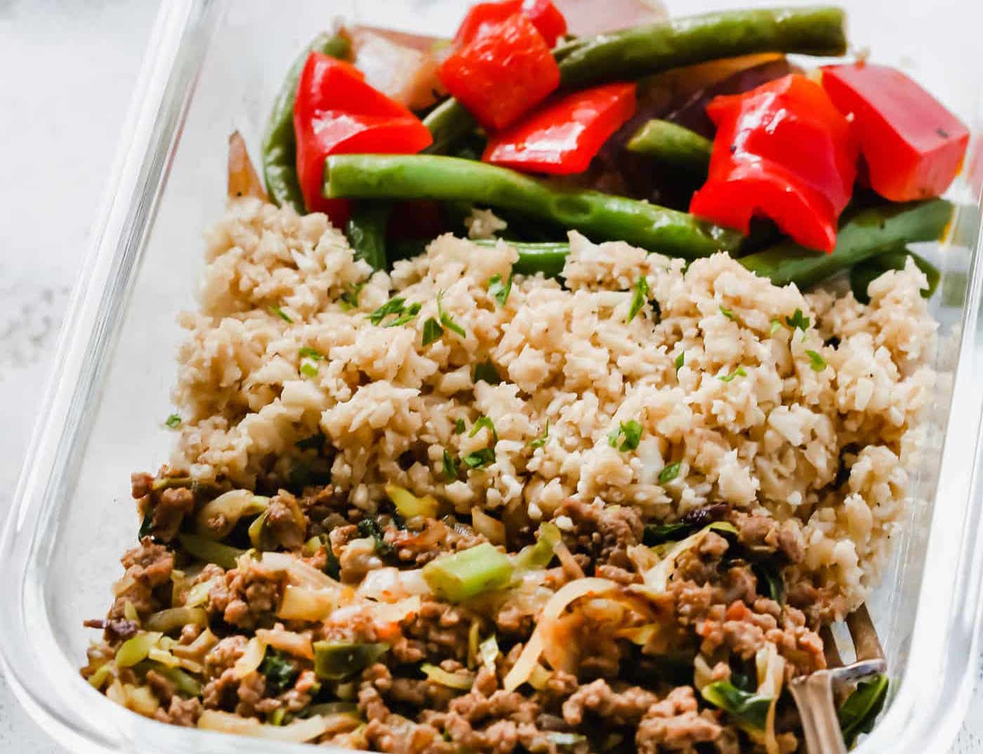Low-carb Ground Turkey Cauliflower Rice Veggie Bowls