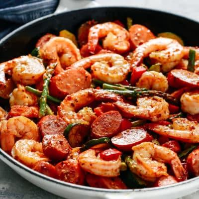 Shrimp and Sausage Vegetable Skillet.
