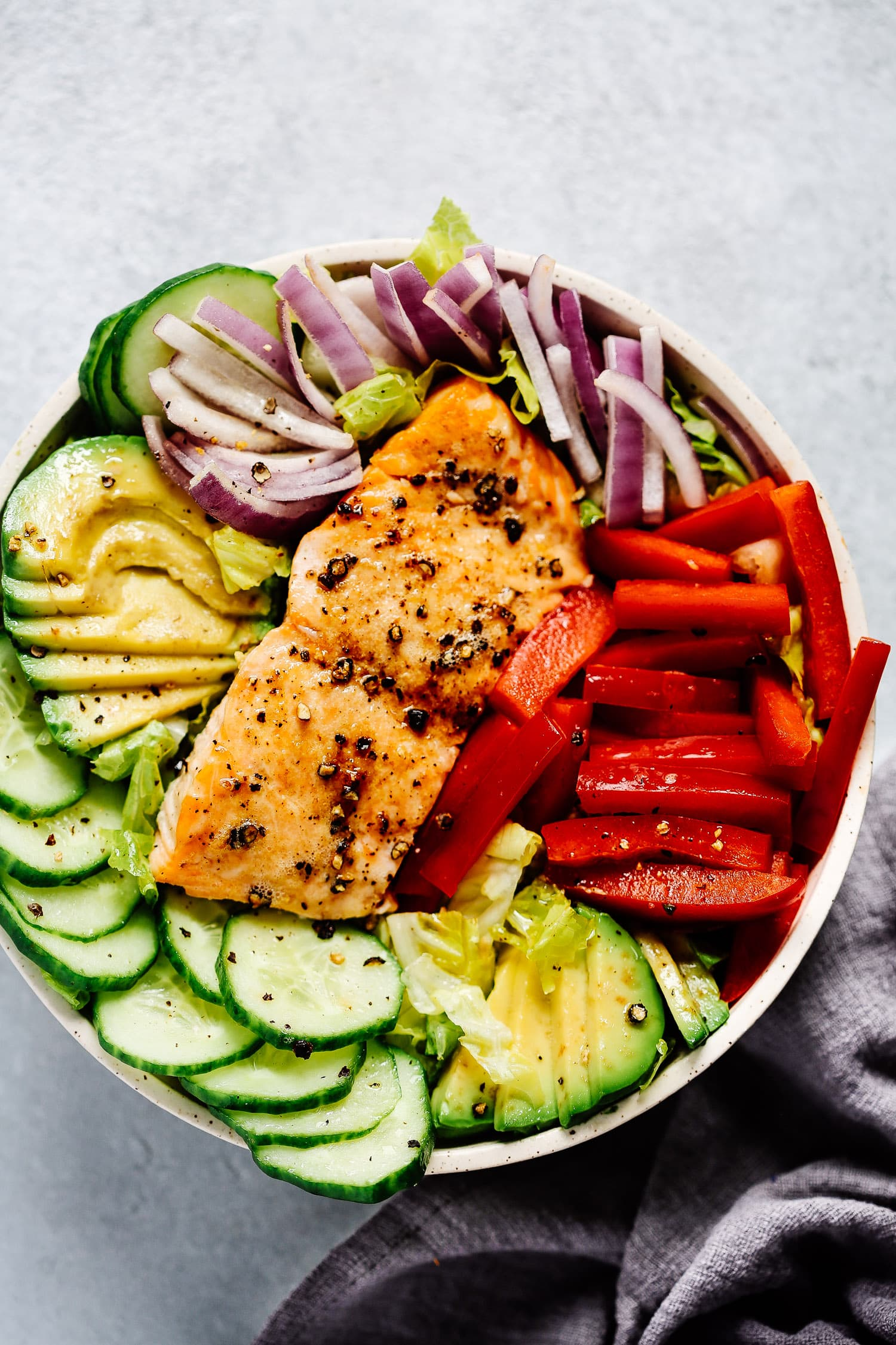 bowl of salmon salad